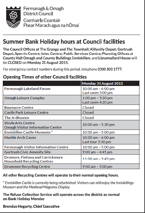 Opening hours of Council facilities on bank Holiday Monday 31 August 2015