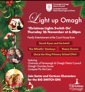 The Christmas lights in Omagh will be switched on on Thursday 26 November 2015