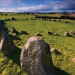 Discovered during peat cutting in the 1940s the site at Beaghmore consists of 7 stone circles. All of the rings are associated with cairns and a stone row runs towards these cairns. It is possible that Neolithic occupation and cultivation preceded the erection of burial cairns and ceremonial circles and alignments: some irregular lines and heaps of boulders resembling field-fences or field-clearance may predate the ritual structures.