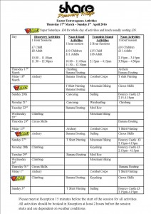 easter extravaganza timetable 2016 (march)