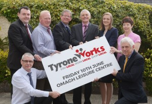 Raymond McGinn (North West News Group), Kevin McShane (Fermanagh and Omagh DC), Seamus O'Neill (Department Employment and Learning), Ian Clarke (North West News Group), Seamus McCaffrey (SP McCaffrey Accountants), Rachael Adams (Business in the Community), Rosemary Breen (Terex GB Ltd) and William Young (South West College) launching the TyroneWorks Job Fair.
